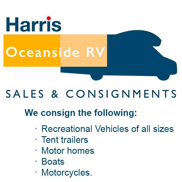A call to action image for Oceanside RV sales and Consignment in Parksville, BC